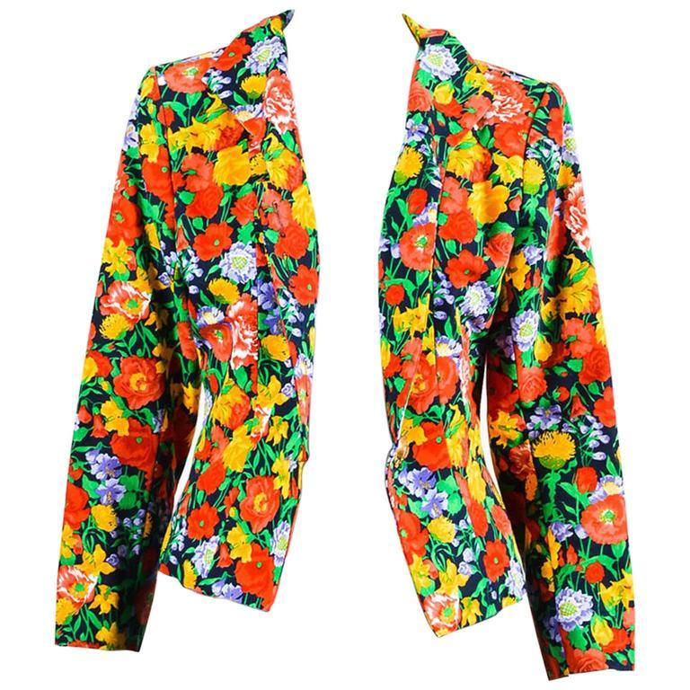Vintage Yves Saint Laurent Multicolor Fitted Floral Print Blazer SZ 40 1