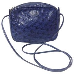 Vintage GUCCI genuine blue ostrich leather shoulder bag. Mini purse for unisex.