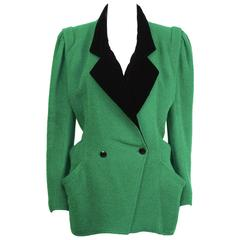 1980's Ungaro Kelly Green & Black Hacking Jacket