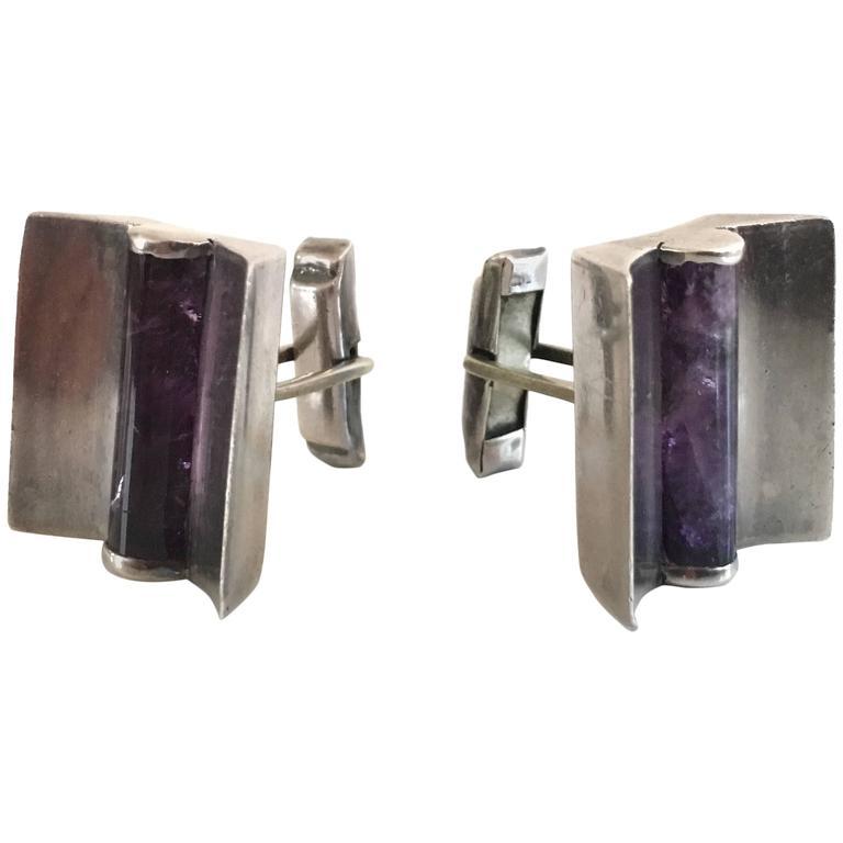 Taxco Sterling Silver & Amethyst Modern Design Cufflinks.  For Sale