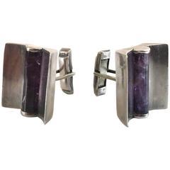 Taxco Sterling Silver & Amethyst Modern Design Cufflinks.