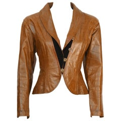1980's Ungaro Croc Embossed Brown Leather Jacket
