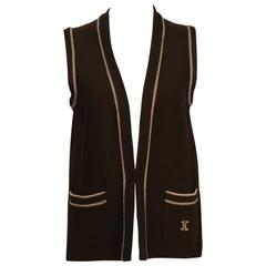 1970's Celine Brown Knit Vest