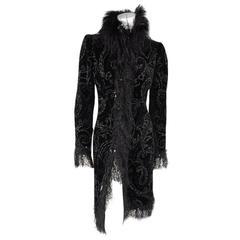 OSCAR DE LA RENTA Black Paisley Velvet Ostrich Feather Fringe Trim Evening Coat