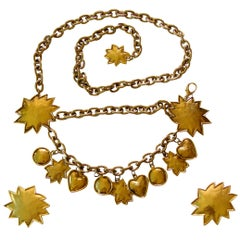 Edouard Rambaud Chain Belt and Earrings Set Gold Abstract Hearts + Stars Dangles
