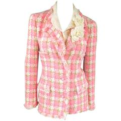 CHANEL Size 6 Pink & Beige Houndstooth Raw Edge Flower Brooch Jacket