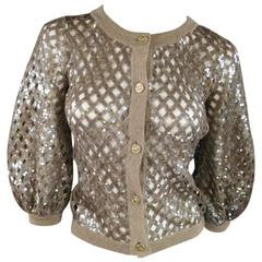 CHANEL Taupe Sequin Mesh Net Wool / Cashmere Puff Sleeve Cardigan