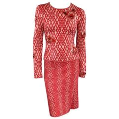 CHANEL Size 8 Red & Pink Rhombus Cashmere Sequin Flower Fall 2003 Skirt Suit