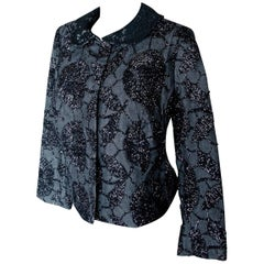 Rare Tomasz Starzewski Cropped Evening Jacket with Embroidery Asian Motif Sz 8