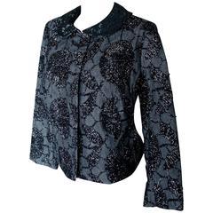 Rare Tomasz Starzewski Cropped Evening Jacket with Embroidery Asian Motif Sz 8