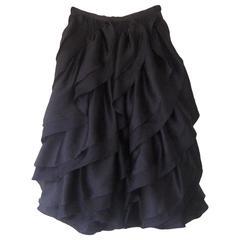 1980 Halston Silk Bias Cut Circular Skirt