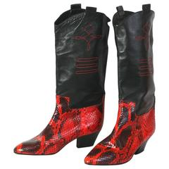Maud Frizon Snakeskin Western Boot