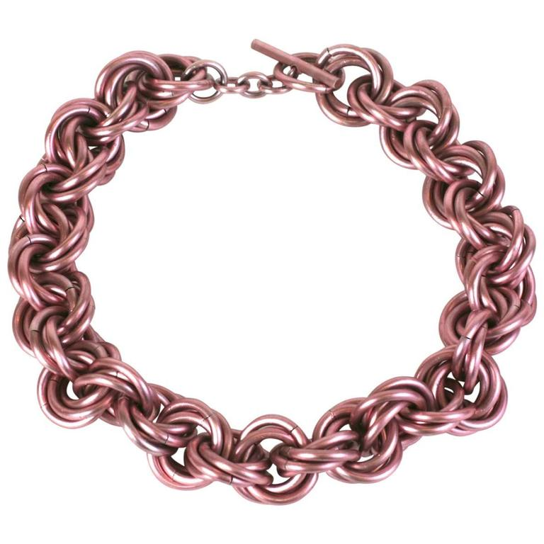Anodized Pale Pink Link Chain Necklace 1