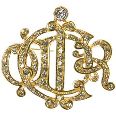 Christian Dior Pave Insignia Brooch