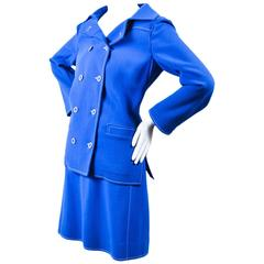 Vintage Courreges Blue White Wool Stitched Double Breasted Skirt Suit SZ 38