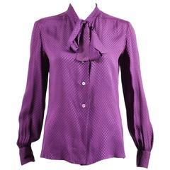 "Vintage Chanel Purple Silk ""CC"" Printed Pussycat Bow Buttoned Blouse SZ 6"