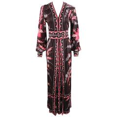 Vintage 1970's Emilio Pucci Pink and Brown Long Jersey Dress