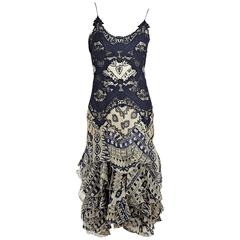 Blue & White Alexander McQueen Printed Silk Dress