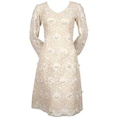 1964 YVES SAINT LAURENT demi-couture Venice lace dress