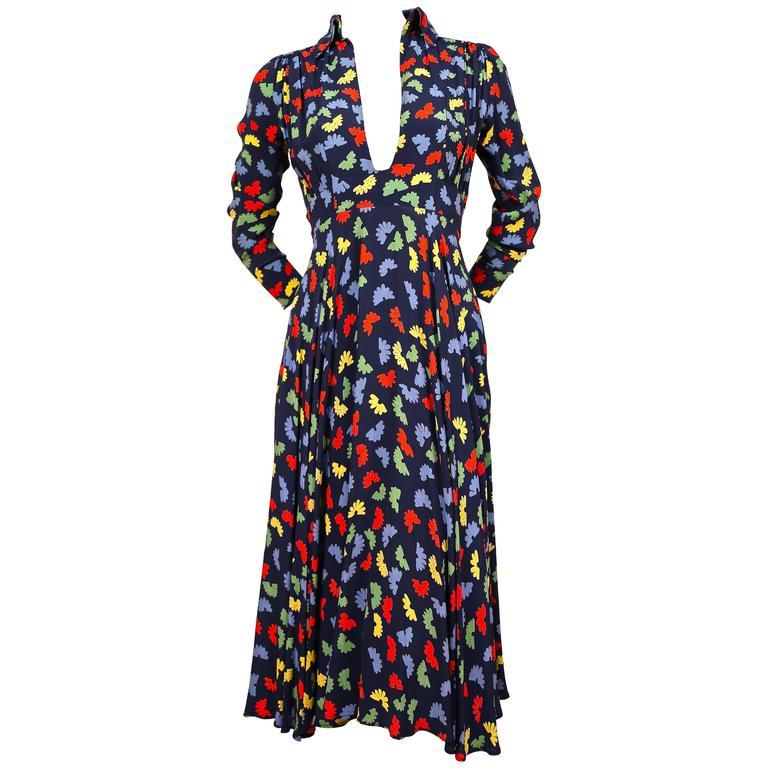 70's OSSIE CLARK for Quorum 'Celia Birtwell' fan printdress w/ plunging neckline 1