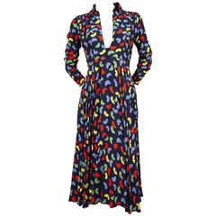 Ossie Clark For Quorum Celia Birtwell fan print plunging neckline dress, 1970s