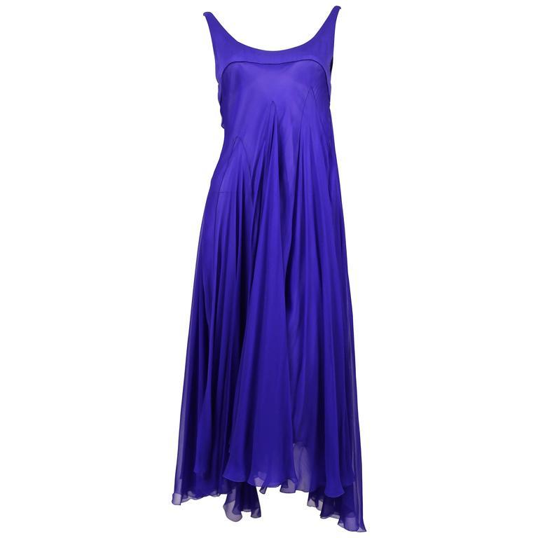 ALEXANDER MCQUEEN silk chiffon cobalt blue asymmetrical gown