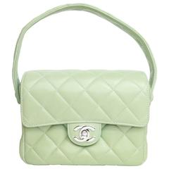 Chanel Green Lambskin Leather Quilted Mini Flap Handbag