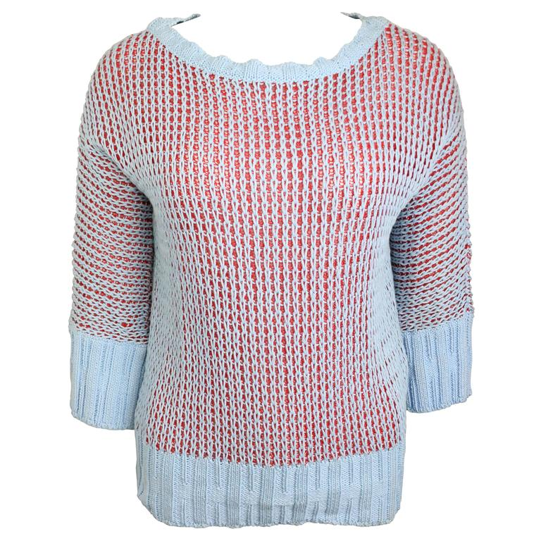 Nina Ricci Blue/Red Knitted 3/4 Sleeves Sweater