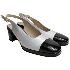 Chanel Bi Tone Metallic Silver with Black Patent Square Toe Slingback Shoes