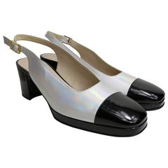 Chanel Bi Tone Metallic Silver with Black Patent Square Toe Slingback Shoes
