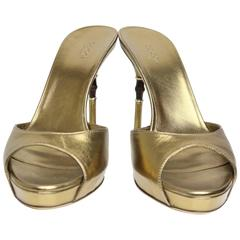 Gucci Gold Metallic Leather Slip-On Sandals Bamboo Heels