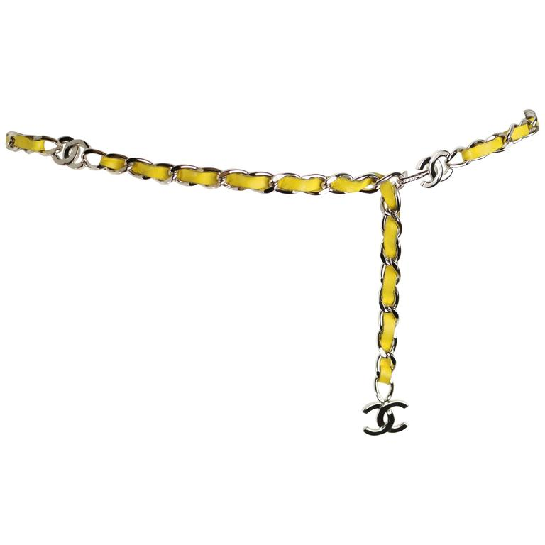 "Chanel Yellow Leather Silver Chain Belt With Silver ""CC"" Logo"