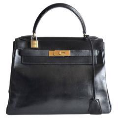 Hermès Kelly 28 Black box leather