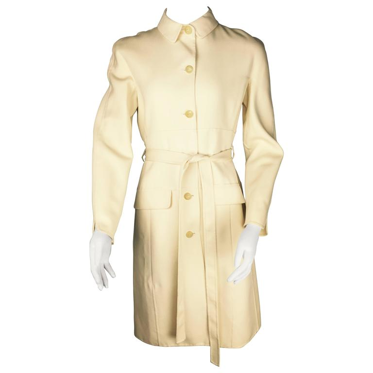 Chado Ralph Rucci Belted Wool Vintage Coat.