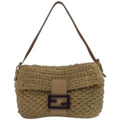 Fendi Nude Wool Baguette Bag