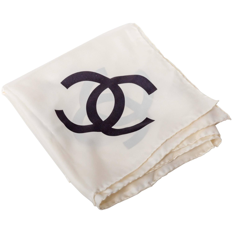 chanel vintage cc logo silk scarf at 1stdibs