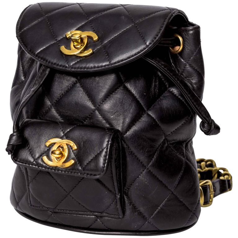 Chanel Vintage Black Quilted Lambskin Leather Mini Backpack Bag 1