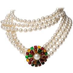 Chanel Multi-strand Pearl & Pâte de Verre Brooch Necklace