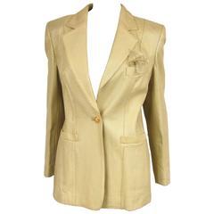 Escada Gold Leather 1990s Blazer Jacket New Old Stock