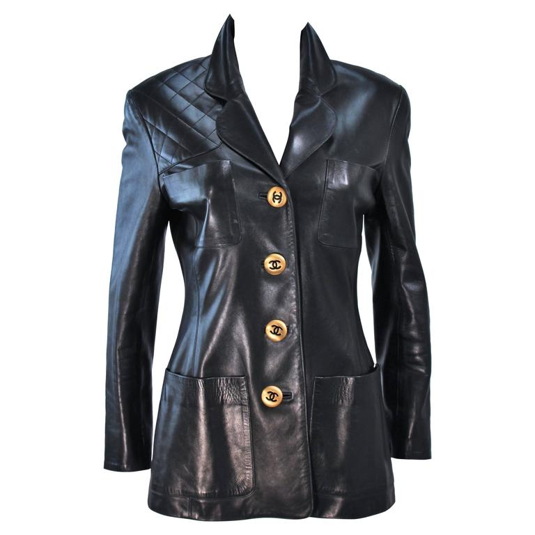 CHANEL Black Leather Jacket with Quilted Accent and Gold Buttons Size 8 For Sale