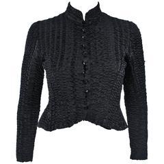 CHLOE Puckered Black Silk Elastic Jacket Size 4-6