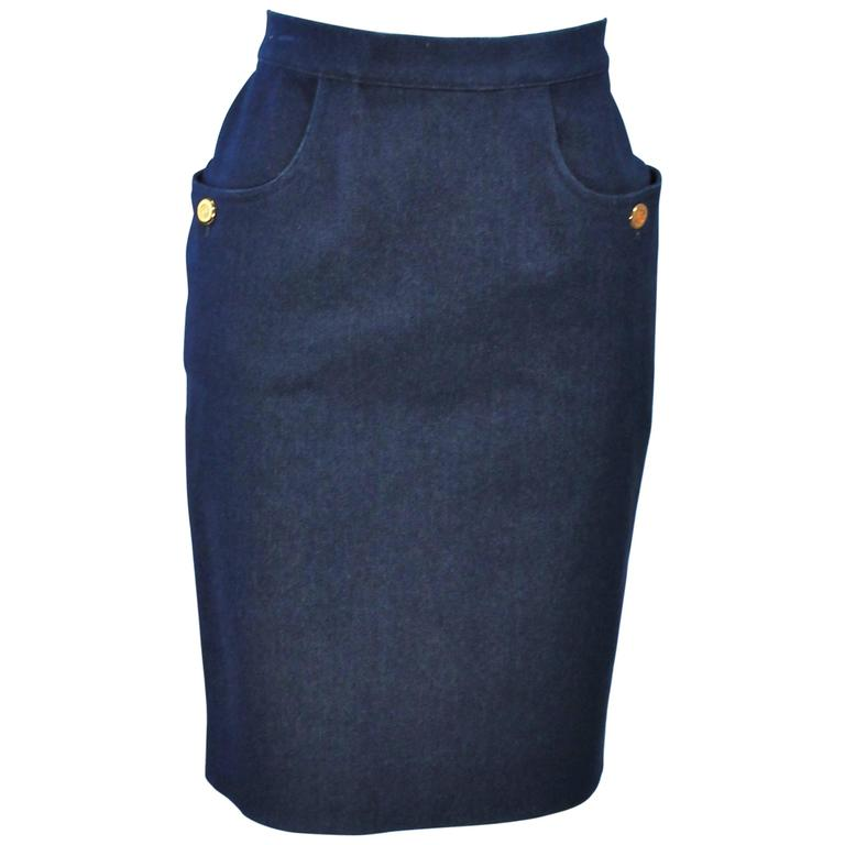 CHANEL Stretch Denim Skirt with Buttons Size 6 For Sale