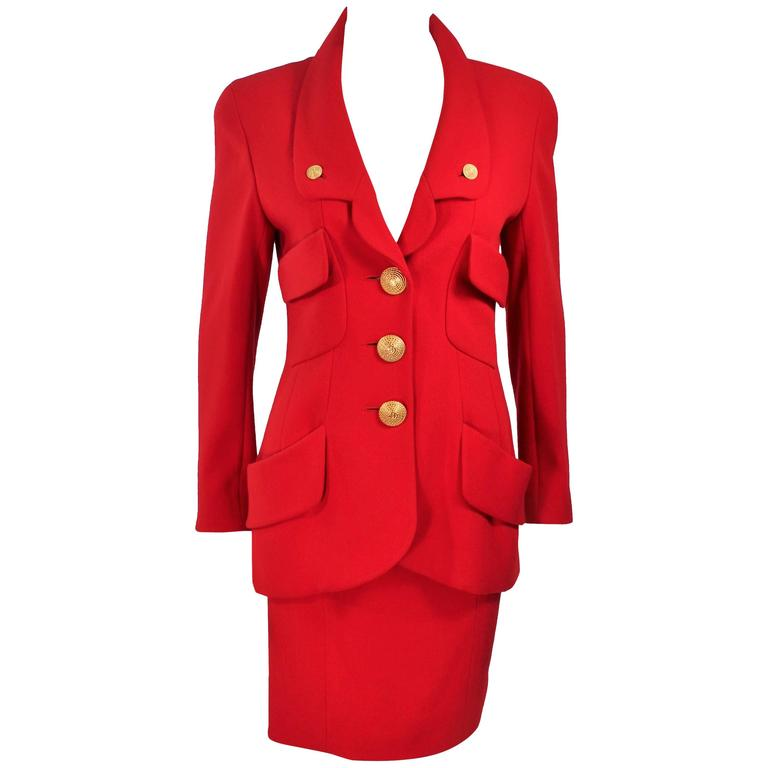 CHANEL RED WOOL SKIRT SUIT With GOLD BUTTONS SIZE 40 1