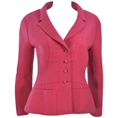 CHANEL Rose Boiled Wool Jacket 99A Size 40