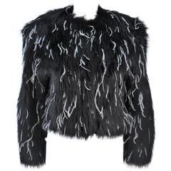 KRIZIA Black Faux Fur Jacket with White Ostrich Feathers Size 42