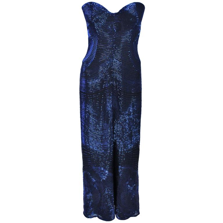 HALSTON Rare Blue Beaded Strapless Gown Size 2-6