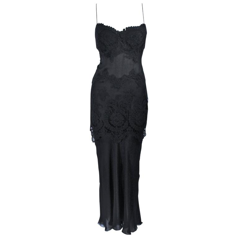 GALANOS Black Sheer Silk Chiffon Gown with Lace Applique & Wrap Size 8-10