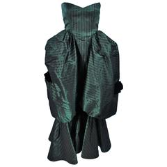 MICHAEL NOVARESE Green Striped Pouf Gown with Velvet Bows Size 2-4