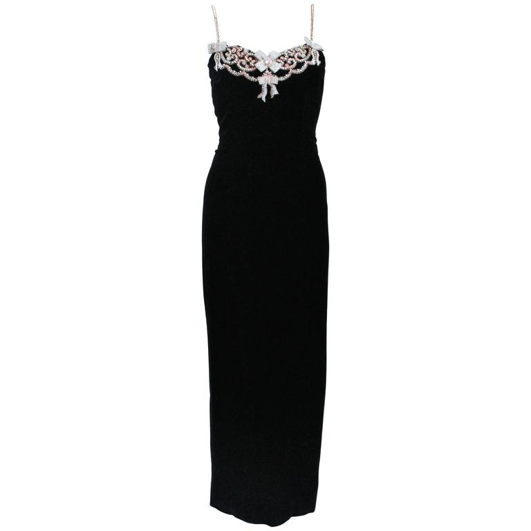 CAROLYN ROEHM Black Velvet Gown with Bows & Embellished Neckline Size 6-8