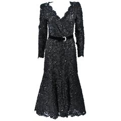OSCAR DE LA RENTA Black Lace Sequin Gown with Rhinestone Belt Size 6-8